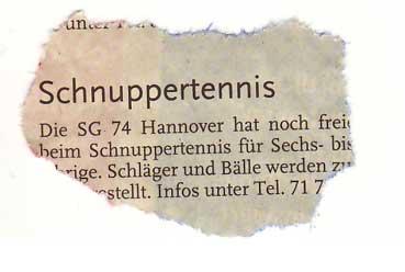 Schnuppertennis